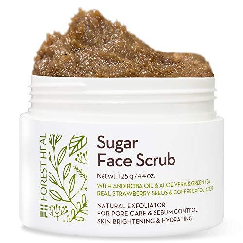 [Forest Heal] Scrub Viso Allo Zucchero con Aloe Vera, Tè Verde, Olio di Andiroba e Veri Semi di Fragola, Esfoliante Naturale per la Cura dei Pori e Il Controllo del Sebo (100 ml)