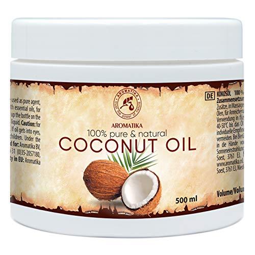 Olio di Cocco 500ml - Cocos Nucifera - Indonesia - Naturale e Puro al 100% - la Pelle Morbida ed Elastica - Cura di Capelli - Aromaterapia - Olio per Massaggi - SPA - Puro Olio di Cocco