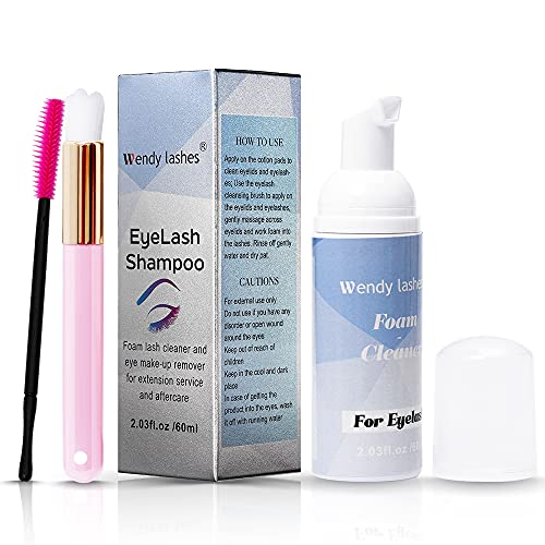 Shampoo per Ciglia per Extension Ciglia, 60ml Detergente Delicato per La rimozione di Residui di Trucco con olio, con Pennello Morbido (60 ml)