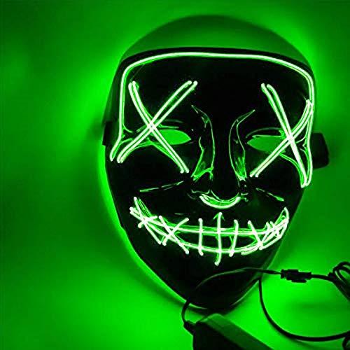 Sinwind Maschera LED Halloween la Maschere Halloween Maschera LED Light Up Maschera LED Illumina la Maschere per Halloween Cosplay Feste del Partito Halloween Costumi (Verde)