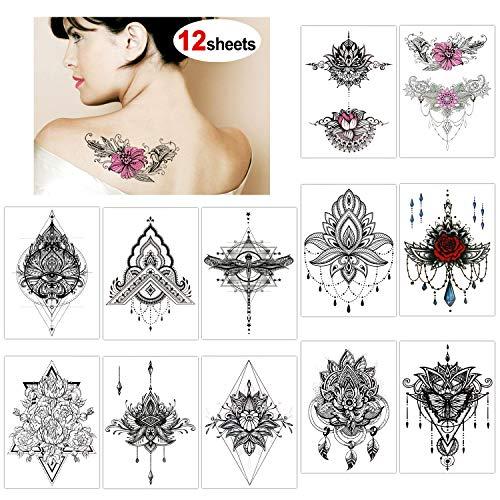 Konsait 13 fogli tatuaggi temporanei per adulti donne, neri impermeabile tatuaggio temporaneo Tattoo Adesivi