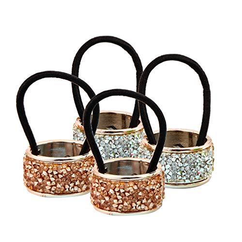 Lurrose 4 pezzi cravatte per capelli con strass cerchio polsino cravatte per capelli in metallo glitter cristallo coda di cavallo porta capelli fascia (champagne e argento)