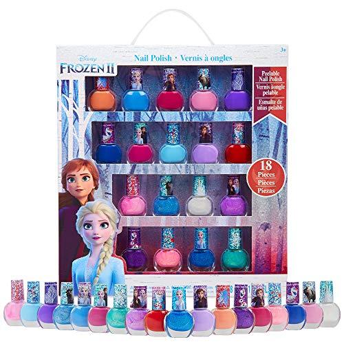 Disney Frozen Set Smalti Bambina, 18 Smalti per Unghie, Smalto Peel off A Base d'Acqua, Regali Frozen Originali