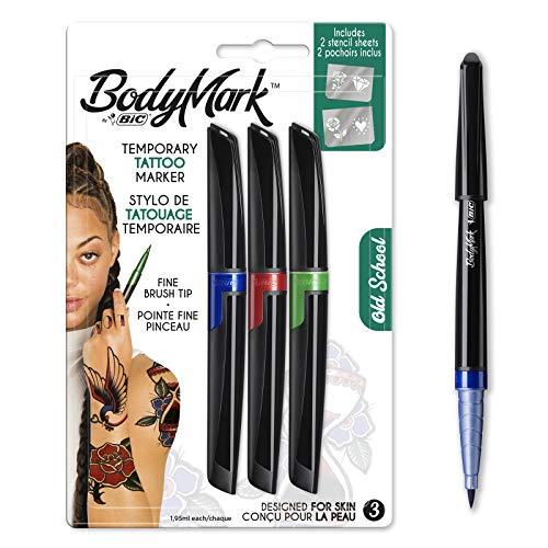 Bodymark By Bic - Pennarelli e stencil temporanei per tatuaggi, kit per vecchia scuola, colori assortiti, confezione da 3+2