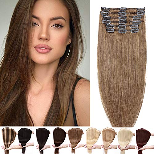Silk-co Extension Capelli Veri Clip 8 Fasce 45cm Remy Human Hair Extension Clip Capelli Umani Brasiliani 80g - 6 Marrone Chiaro