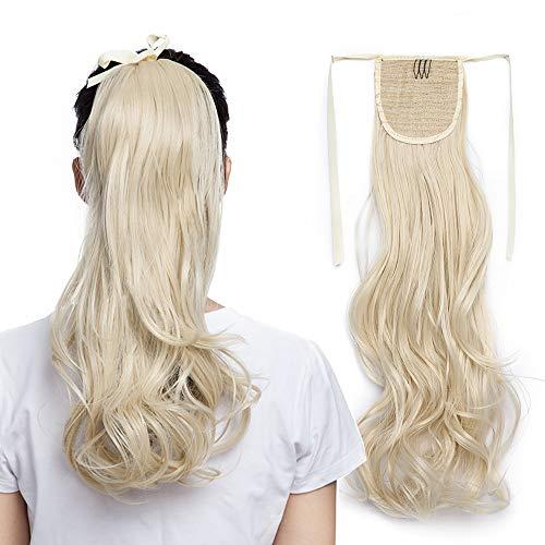 SEGO 45cm Coda Capelli Extension Cavallo Fascia Unica Clip in Hair Finti Mossi Parrucca Ponytail Tie Up 90g - Biondo Chiarissimo