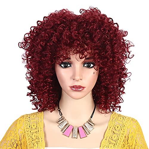MEIRIYFA - Parrucca riccia per donne nere, afro riccia corta con frangia sintetica resistente al calore, per donne africane e ragazze (rosso)