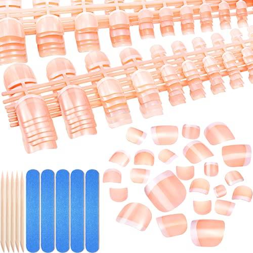 360 Unghie Piedi Finte Francesi Unghie Piedi Artificiali Kit Punte Unghie Piedi Finte Francesi 12 Misure Copertura Completa con Lime Unghie e Bastone per Unghie Arte (Modello Classico)
