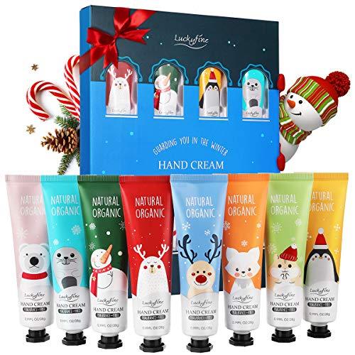 Crema Mani Luckyfine 8 pezzi, Crema per le mani, Kit crema riparatore mani per l'inverno Sapori stile kit di Natale 8 - Lavanda, rosa, tè verde ecc.
