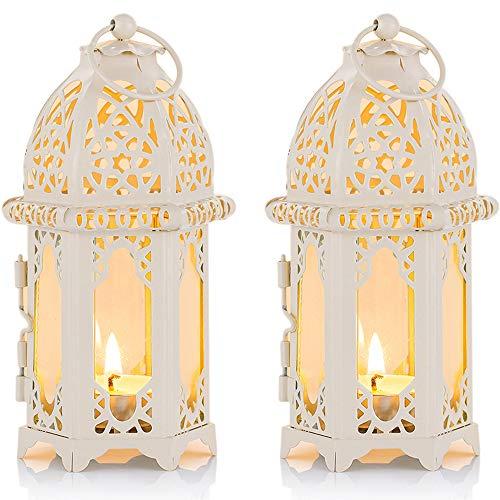 Nuptio Lanterna a 2 Candele in Stile Marocchino - Portacandele Tealight di Piccole Dimensioni con Pannelli in Vetro Trasparente Grande per Patio/Esterni, Feste e Matrimoni, Bianco