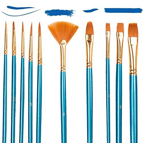 Set di 10 Pennelli Acrilici per Pittura artistica,Nylon Pennelli Sintetici per Dipingere Pittura Acrilica, Acquerello, Pittura ad olio per Principianti, Artisti