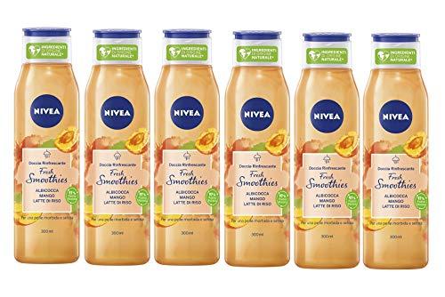 NIVEA Doccia Rinfrescante Fresh Smoothies Albicocca & Mango in confezione da 6 x 300 ml, Docciaschiuma con ingredienti di origine naturale e vegani