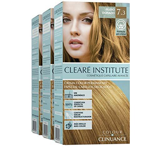 Colour Clinuance | Colorazione Permanente per Capelli Delicati | Senza Ammoniaca | Colore intenso, 100% copertura | Dermatologicamente Testato | 7.3 Biondo Dorato (x3)
