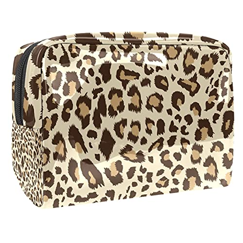 Makeup Bag for Purse PVC Travel Cosmetic Pouch Leopard Toiletry Bag for Women Girls Gifts Portable Water-Resistant Daily Storage Organizer 7.3x3x5.1 Inch