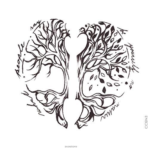 Avasore - Set di 2 tatuaggi temporanei da donna, motivo: albero della vita