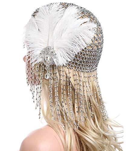 ArtiDeco, fascia per capelli da donna, 1920, Gatsby, danza del ventre, esotica, Cleopatra, costume, accessori, anni '20, fascia per capelli luminosa argento con piuma. Taglia unica
