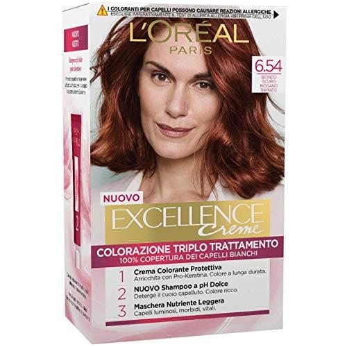 L'Oréal Paris Tinta Capelli Excellence, Copre i Capelli Bianchi, Colore Ricco, Luminoso e a Lunga Durata, 6.54 Biondo Scuro Mogano Ramato, Confezione da 1