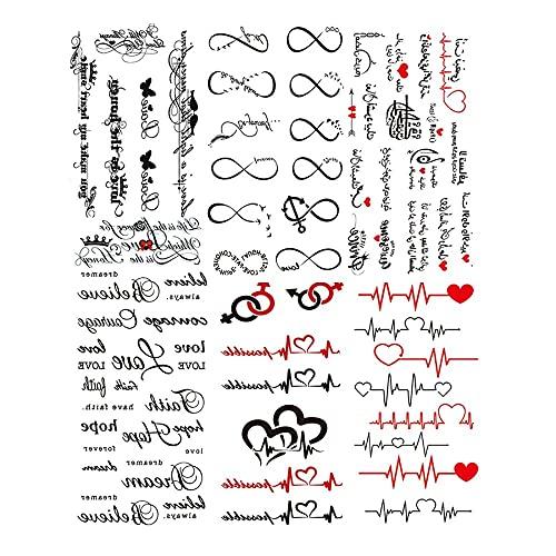 KONGMAODS Tatuaggi temporanei,6Pcs Minimalist Word Letters Tatuaggi, Piccolo Cuore Infinito Amore Tatuaggio temporaneo per Bambini Donne Dito Collo del Polso