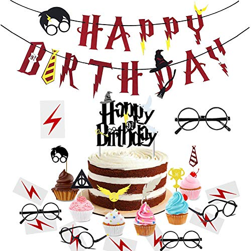 xingqiwu Harry Potter Party Supplies - Happy Birthday Banner Harry Potter Ispirato Cupcake Toppers, Wizard Glasses e Tatuaggi (Set di 29)