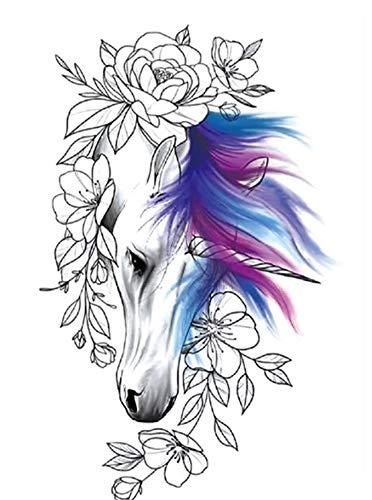 Tatuaggio con fiori di cavallo, da incollare Th753
