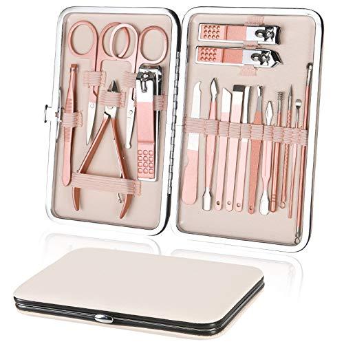 URAQT Tagliaunghie Set, 18 Pcs Kit Pedicure e Manicure in Acciaio Inossidabile, Tagliaunghie Professionale per Mani e Pedi con Box PU per Donna