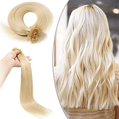 Elailite Extension Capelli Veri Cheratina Lunga Durata 100 Ciocche 100% Remy Human Hair Pre Bonded U Tip Nail Hair Naturali Lisci 40cm 50g #60 Biondo Platino