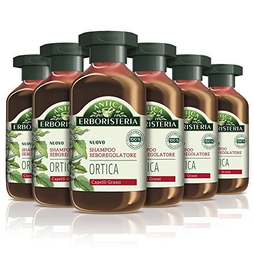 Antica Erboristeria Shampoo Seboregolatore Ortica, Shampoo per Capelli Grassi, con Ingredienti Naturali, 6 pezzi x 250 ml