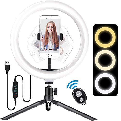 """Meromore Luce ad Anello, 10"""" Ring Light LED con Treppiede & Supporto Telefono & Telecomando Bluetooth, ,Luce Anulare con 3 modalità & 10 Livelli di Luminosità per Youtube, Selfie, Tik Tok"""