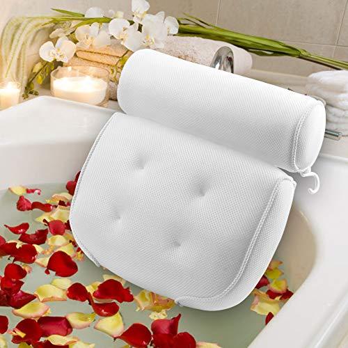 AODOOR - Cuscino per vasca da bagno, con 6 ventose e tecnologia 3D, per vasca da bagno, cuscino per vasca da bagno, cuscino per vasca idromassaggio, poggiatesta bianco