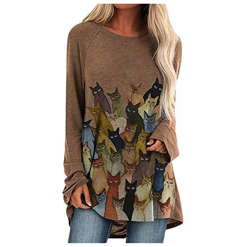 Xmiral Camicia Donna Maglia Manica Lunga Camicetta Casuale T-Shirt Top Donna Farfalla Stampa Camicie Pile O-Collo Moda Cotone ( M,Cachi )