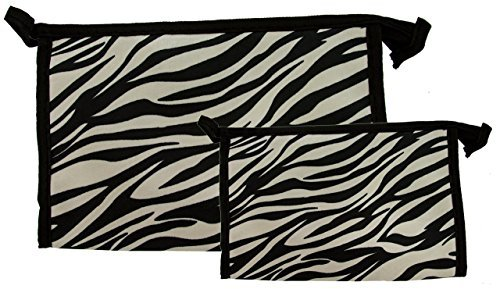 Northern Star Matching Zebra Travel Cosmetic, Makeup, Toiletry Bag, Lightweight Comes in Three Silver, Set of 2 by Northern Star