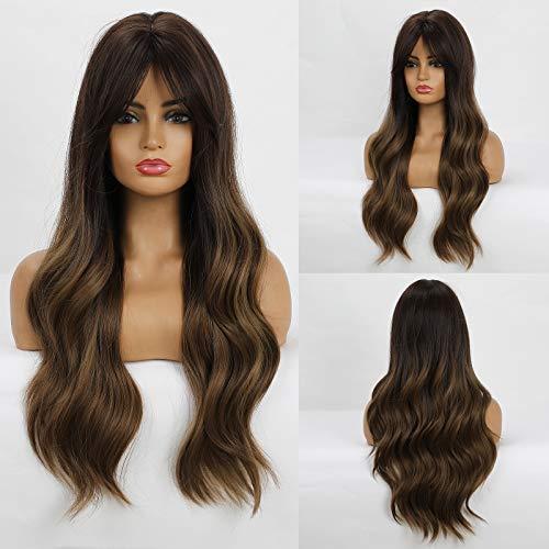 Fovermo Parrucca con capelli lunghi castani sfumati Parrucca con capelli mossi per le donne