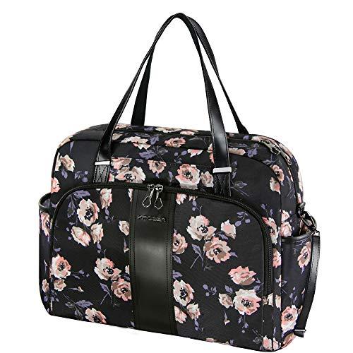 KROSER Borsa per Laptop da 15,6 Pollici Borse Tote Donna Borsa della Spesa Borsa a Tracolla Moda Tote Bag Grande con Tasca RFID per Scuola/Viaggio/Ufficio/Lavoro -Rose Pattern