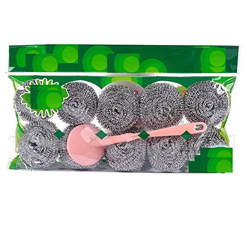 FGHHJ CINY 10 Pezzi di Spugne in Acciaio Inox, Set di Spugne in Acciaio Inossidabile con Manico, Utensili per La Pulizia della Cucina, Spugnette in Metallo, Spazzole per Pulire Pentole, Padelle (18g)