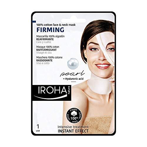 Iroha Nature Maschera viso e collo in Cotone con Perla e Acido Ialuronico, 1 unità