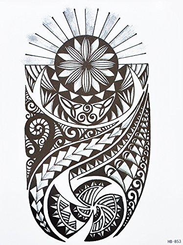 Tatuaggio adesivo per braccio con motivo tribale Maori di colore nero, HB853