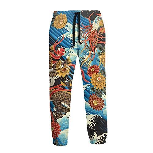 Stile Cinese Orientale Drago Phoenix Onda Mare Uomini Donne Unisex Divertente 3D Stampato Coulisse Tasche Casual Allenamento Sport Pantaloni Pantaloni bianco XL