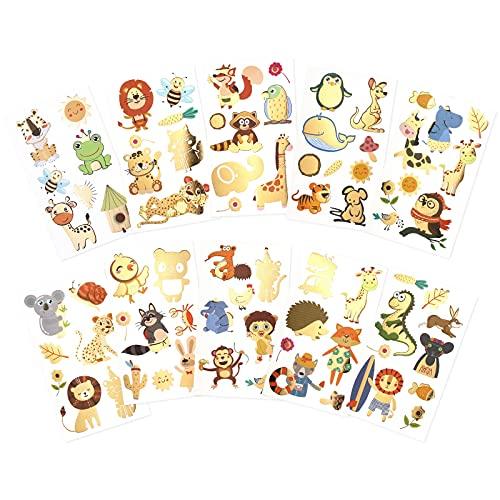 Qpout Tatuaggi temporanei animali per bambini, disegni misti adesivi tatuaggi animali, dinosauro tigre leone coniglio scimmia ape canguro delfino, ragazzi ragazze compleanno festa decor regali