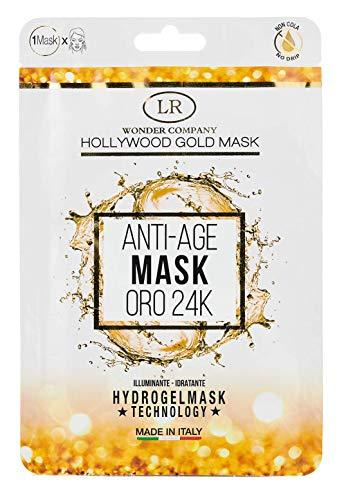 Hollywood Gold Mask 24 Kt, maschera viso Hydrogel in tessuto microforato all'oro colloidale 24 carati, LR Wonder Company (1 maschera)