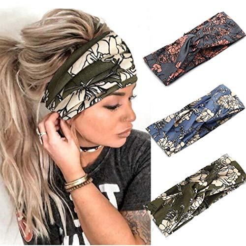 Catery Boho - Cerchietto per capelli con motivo incrociato, stile bohémien, stile vintage, con turbante elastico in tessuto, accessori per capelli alla moda, per donna, confezione da 3
