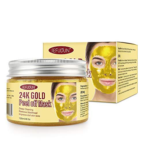 Maschera viso oro 24k, maschere viso peel off, maschere rimozione punti neri, peel-off riduzione rughe, maschera viso pulizia profonda restringimento dei pori (1 Pcs)
