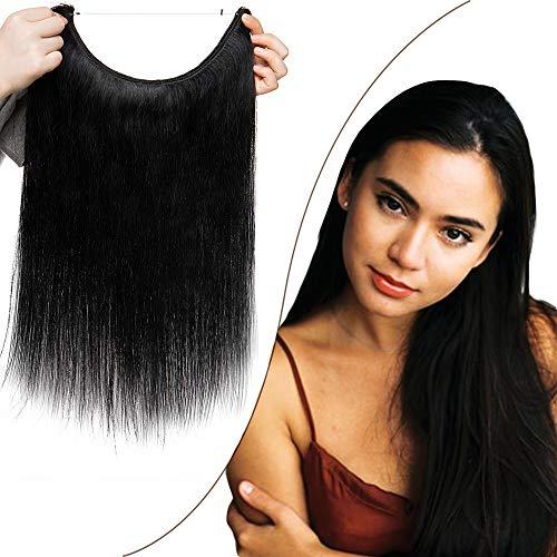 Rich Choices 40cm Extension Capelli Veri con Filo Invisibile 100% Remy Human Hair Extension Capelli Fascia Unica Pesa 60g, 1 Jet Nero