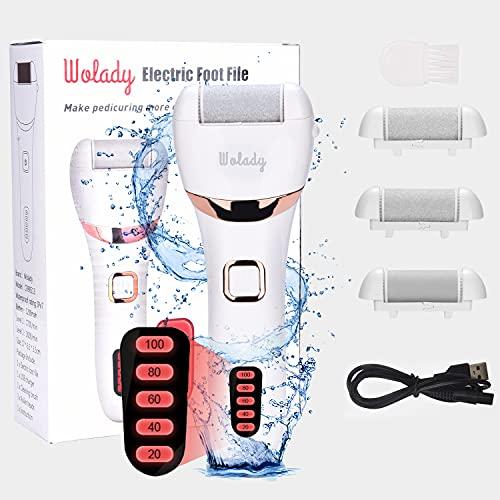 Piedi Roll Elettrico Piedicure Roll Professionale Ricaricabile USB Wolady 3 Rullo Ricambio 2 Velocita 5 Livelli IPX7 Impermeabile Rimozione Calli Piedi Elettrico Pedicure Roll Piedi Cura Togli Calli
