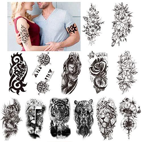 HOWAF Tatuaggi Temporanei Impermeabili 13 Fogli Grandi Tatuaggi Finti Totem Drago Lupo Leone Tigre Fiore Nero Tatuaggi Adesivi tattoo temporanei per per Uomo e Donna Adulti
