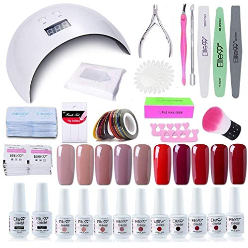 Elite99 Smalto Semipermanente per unghie Kit di Partenza in 10 coloris Gel 24 W LED Lampada UV Nail Dryer Soak Off Topcoat Basecoat Nail Art Tool Set di Adesivi per Manicure Set per Manicure 8ML C013