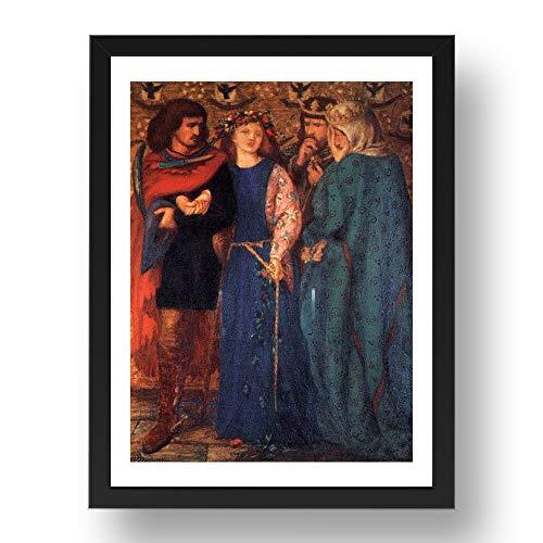 Periodo Prints First Madness of Ophelia 1864 di Dante Gabriel Rossetti, arte pre-rapaelite vintage, riproduzione A3 in 17x13 (A3) cornice nera