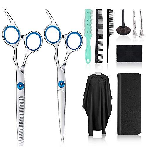 Set Forbici Parrucchiere Professionali,Set di forbici da barbiere,con forbici da sfoltitura, pettini, fermagli per capellidei,Forbici per Sfoltire i Capelli per Salone,Barbiere o Uso Domestico