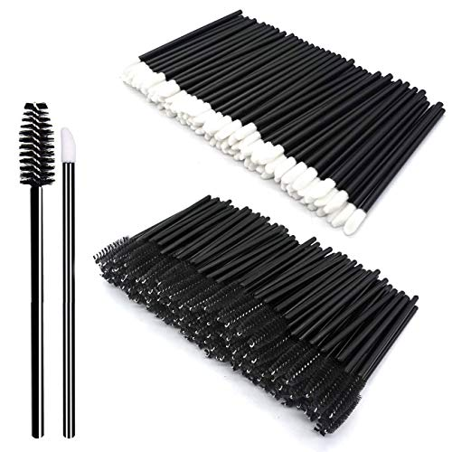 200Pcs Kit di strumenti per trucco Pennello per labbra monouso Pennello per ciglia monouso nero Set di pennelli per trucco quotidiano (Black)