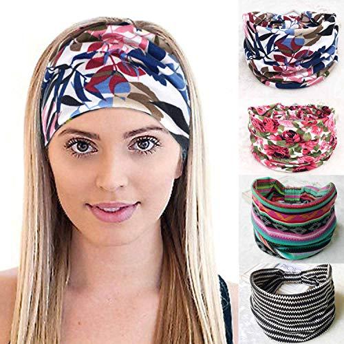Sethexy - Fascia elastica per capelli con stampa floreale, 4 pezzi, senza cuciture, a righe, per corsa, sport, campeggio, per donne e ragazze