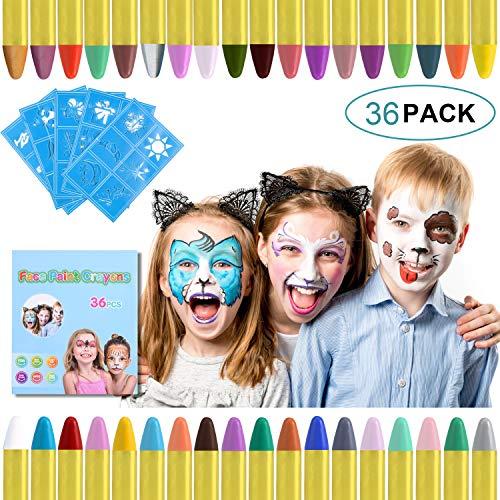 URAQT Face Painting, 36 Colori Body Painting, Pittura Corpo Sicuro e Non Tossico, per Ottimo per Bambini, Ragazzi, Halloween, Cosplay